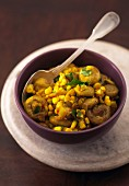 Indian Turmeric Mushrooms & Corn