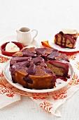 Upside-down pear & hazlenut cake