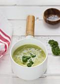 Coriander soup in a saucepan