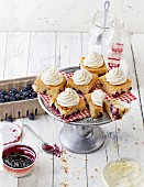 Blueberry muffin cakes with cream cheese frosting (USA)