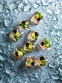 Champagnergelee-Würfel mit Kaviar