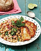 Halloumi with chickpeas and herbs