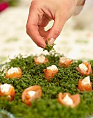A bed of cress with salmon roses for a summer festival