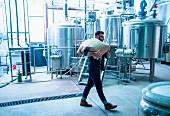 Bierbrauer in Brauerei transportiert Leinensack auf den Schultern (USA)