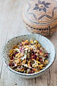 Lebanese floral tea: a tea mixture in a bowl