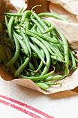 Green beans in a paper bag
