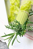 Bouquet garni with celery, thyme and rosemary (close-up)