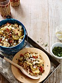 Squash and poblano bake with feta cheese