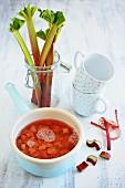 Rhubarb compote in an enamel saucepan