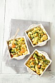 Gnocchi gratin with vegetables and mozzarella