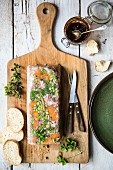 Ham hock terrine with bread and chutney