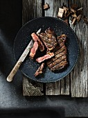 Barbecue-smoked entrecote, partially sliced
