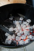 White hot charcoal on a barbecue