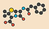 Penicillin G drug molecule