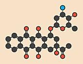 Idarubicin cancer drug molecule