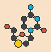 Lamivudine antiviral drug molecule