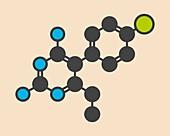 Pyrimethamine malaria drug molecule