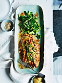 Miso roast mulloway with sesame and sauteed greens