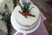A winter eggnog cake seen from above