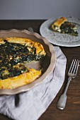 Spinach and feta cheese pie, sliced