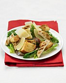 Caesar salad with grilled chicken, croutons and Parmesan cheese