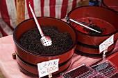 Loose-leaf tea being sold at amarket