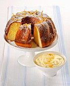 Bundt cake with orange zest and orange cream