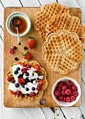 Vegan, gluten-free waffles with berries (seen from above)