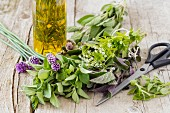 Fresh herbs for homemade herbal oil