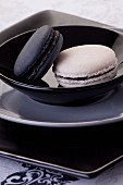 Black and white macaroons