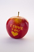 A red apple carved with the words 'I love you' and a heart