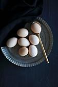 Eggs on an iron plate