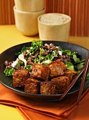 Fried tempeh with salad