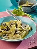 Celery and morel mushroom ragout
