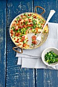 Frittata with chanterelle mushrooms, peas and bacon