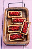 Rectangular tartlets with chocolate cream and redcurrants