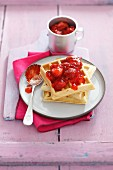Waffles with strawberry jam