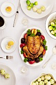 Roast chicken with potatoes and Brussels sprouts