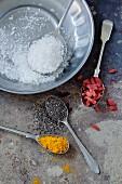 Dessicated coconut, chia seeds, turmeric and goji berries