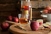 Apples, cinnamon sticks and whiskey