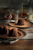 Fondant au chocolat dusted with cocoa powder