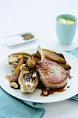 Pork Cutlets with Radicchio, Pear and Almonds