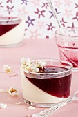 Panna cotta with cherry mousse