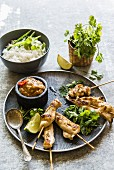Chicken satay skewers with a peanut dip, coriander and rice (Thailand)