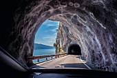 Lake Garda (shore road) with tunnel, Italy