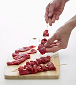 Preparing Szechuan Beef Skewers