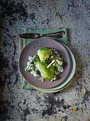 Steamed Zander in a savoy cabbage leaf