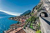 A view of the west bank road looking south by Limone, Lake Garda, Italy