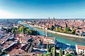 A view from Castel San Pietro of Verona and Sant'Anastasia church, Veneto, Italy
