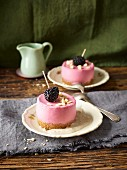 Blackberry mousse cakes on a pool of vanilla sauce